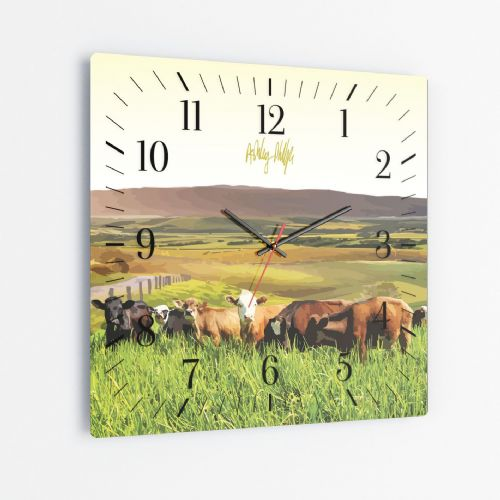 Rolling Hills With Cows Yellow - Square Glass Clock